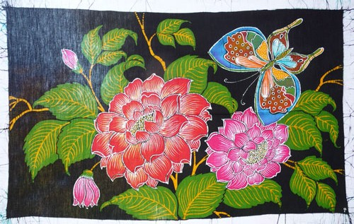 Butterfly and lotus flowers